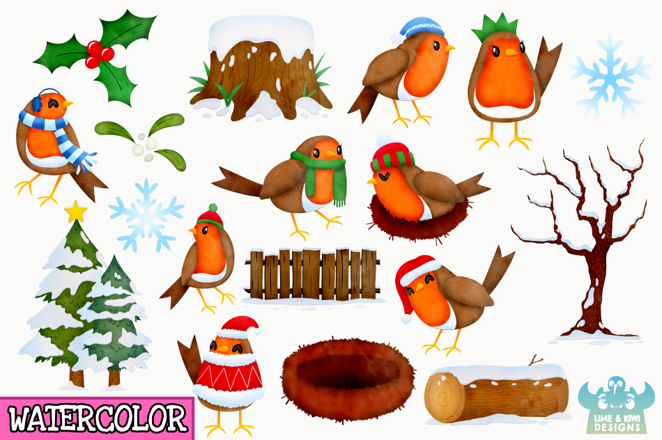 Christmas Robins Watercolor Clipart, Instant Download example image 3