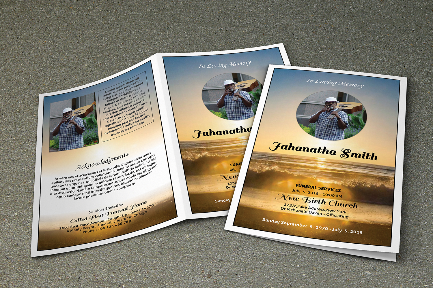 Printable Funeral Program Template example image 2