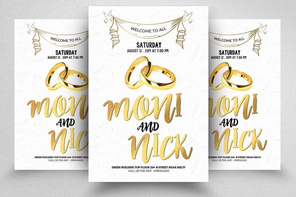 4 Wedding Invitation Flyers Bundle example image 2
