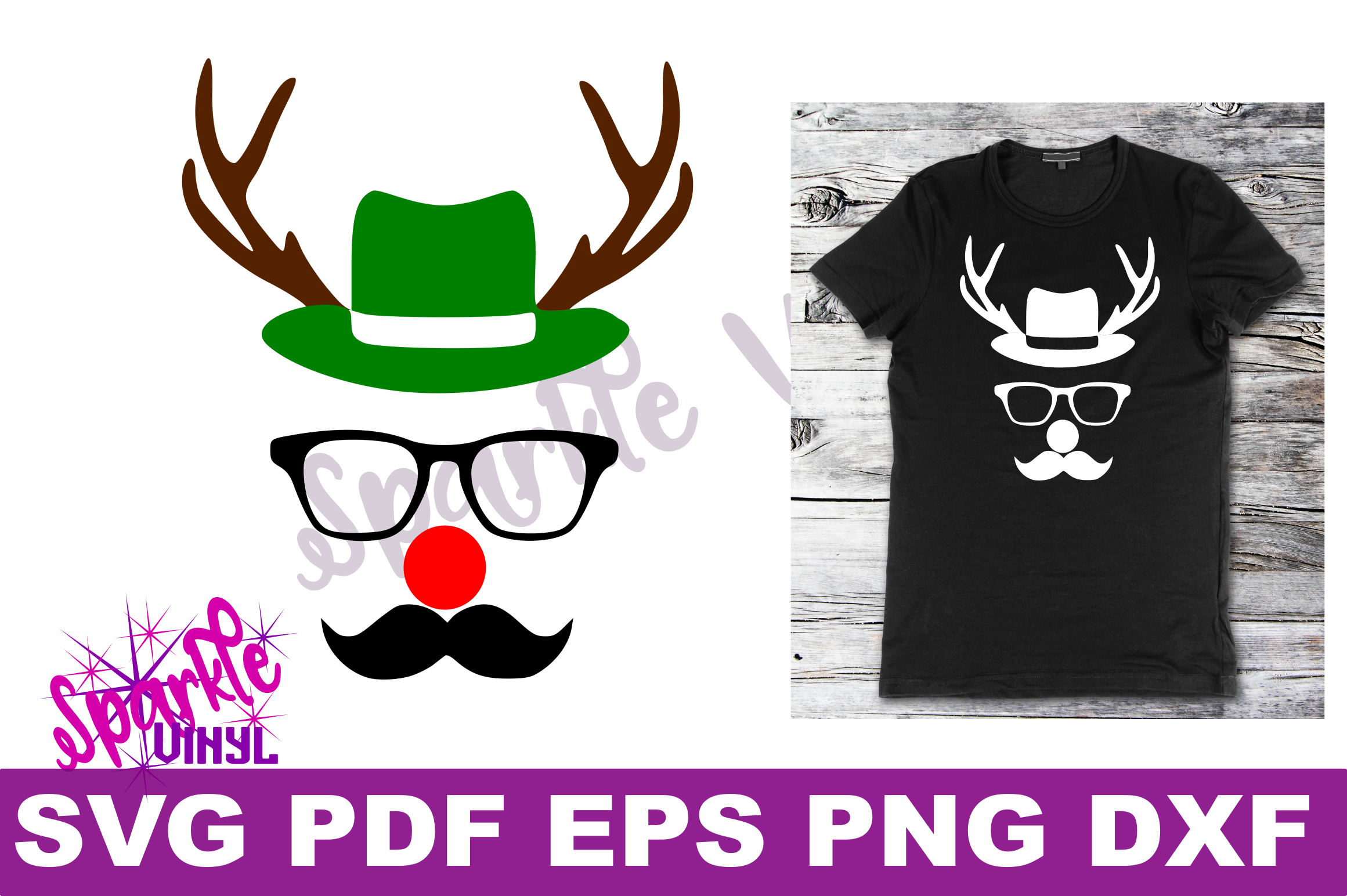 Svg Christmas Reindeer face ladies shirt tshirt outfit with hat glasses mustache red nose antlers svg files for cricut silhouette printable example image 3