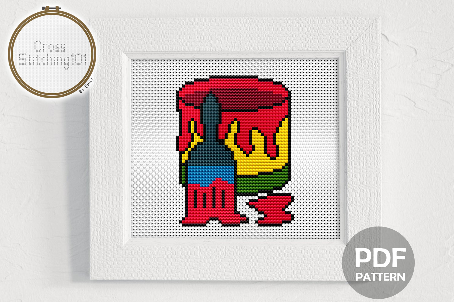 Brush n Bucket Cross Stitch Pattern - Instant Download PDF example image 1