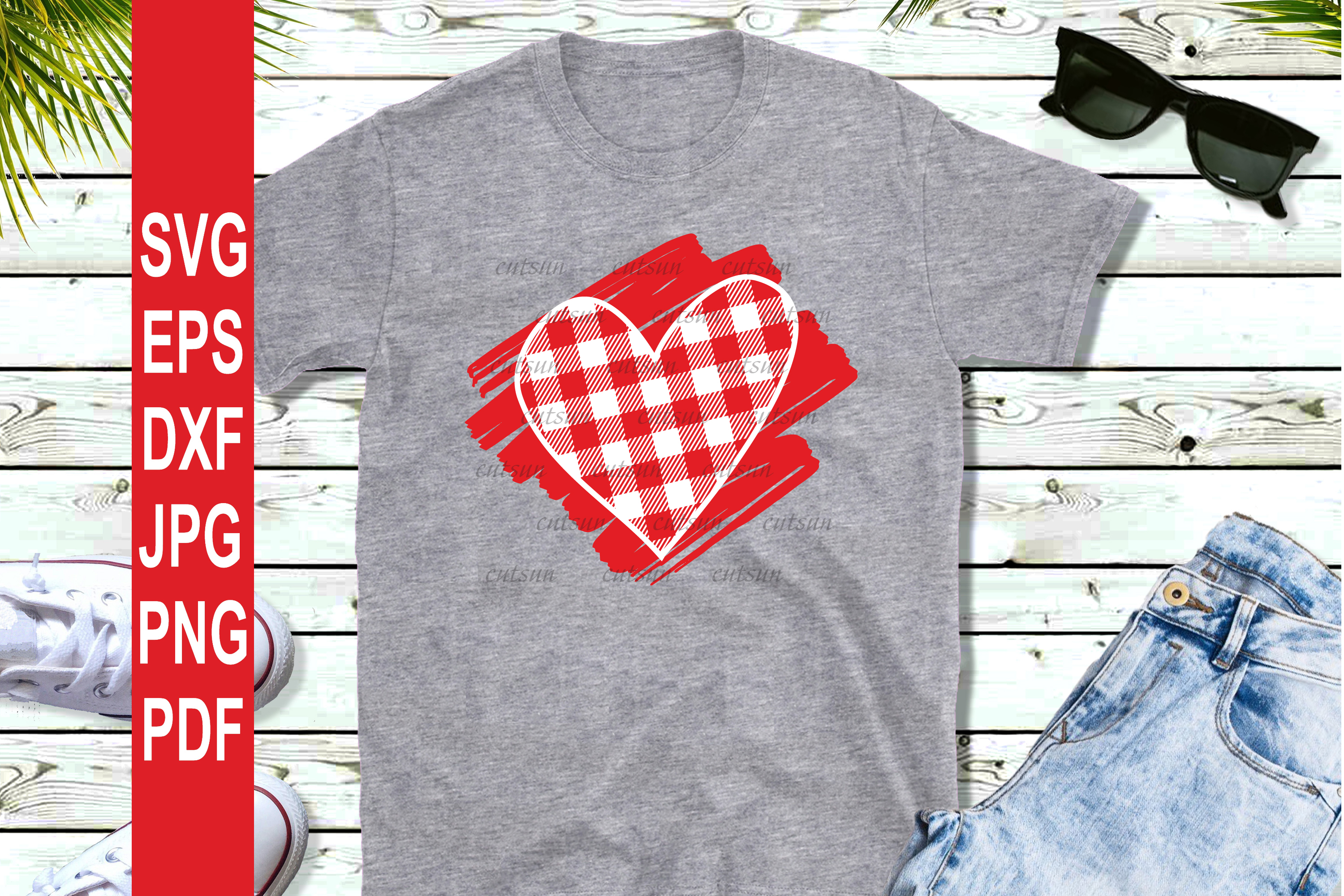 Valentine SVG  Plaid Heart on a scribble   Heart plaid example image 3