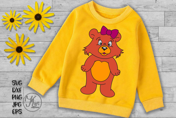 bear svg, cute bear svg, cute bear clipart, bear boy girl example image 3