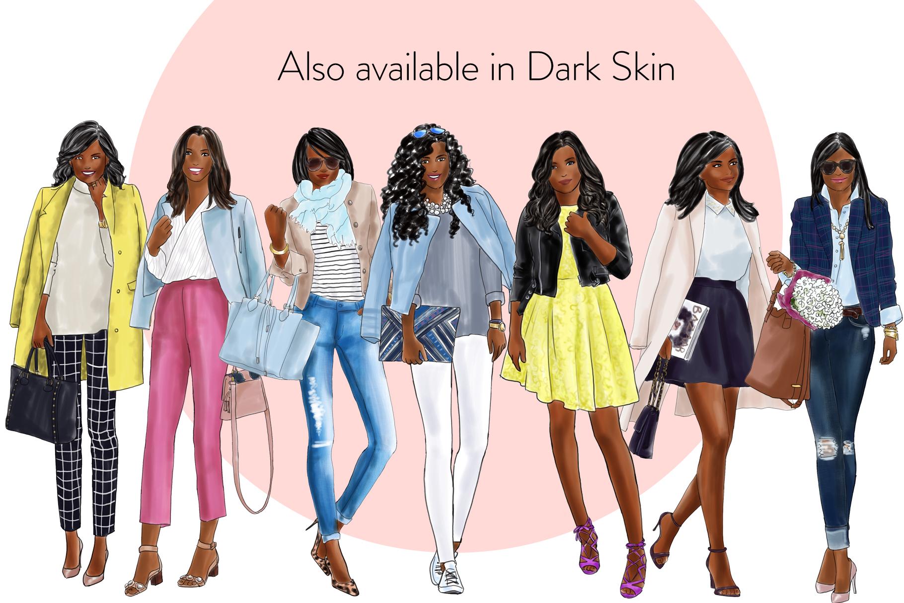 Fashion illustration clipart - Fashion Girls 21 - Light Skin example image 4