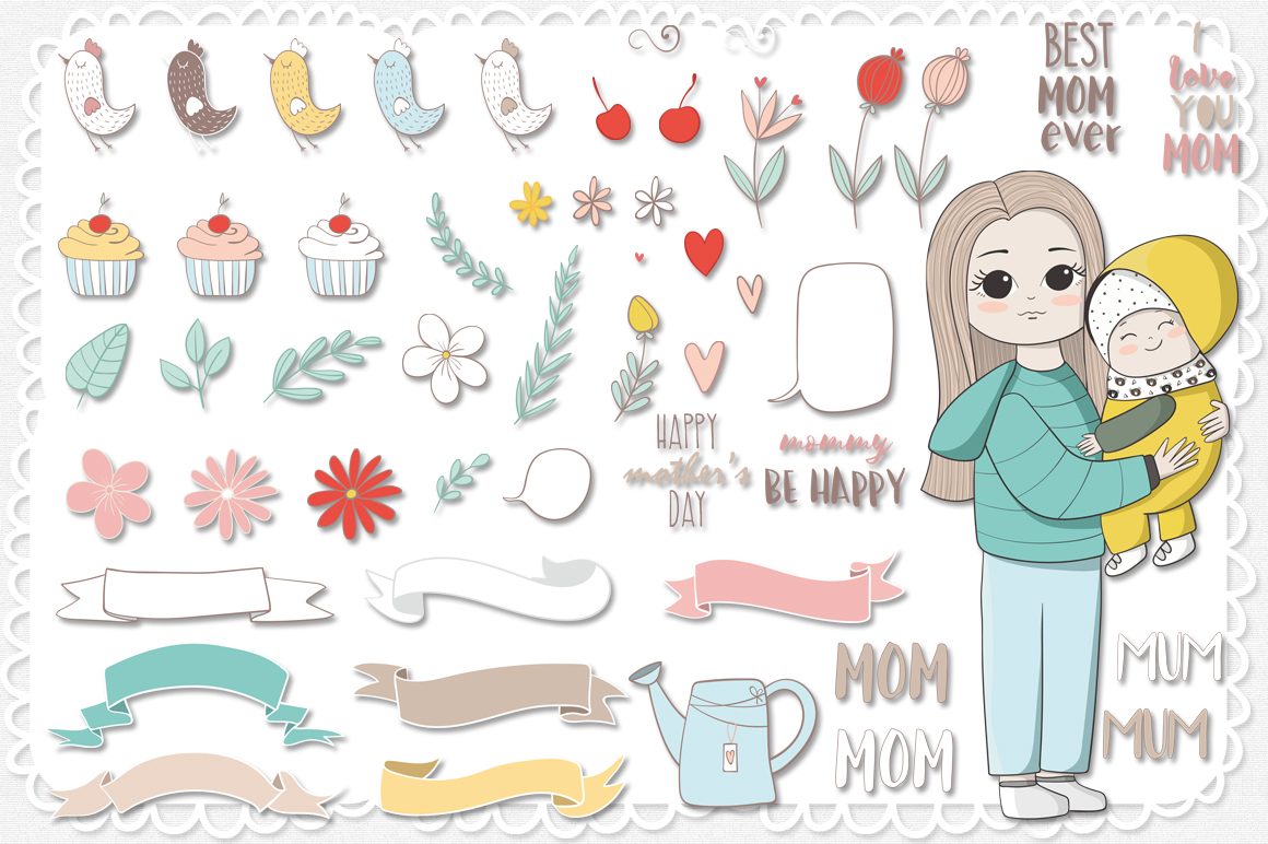 I love mom. Vector illustrations example image 2