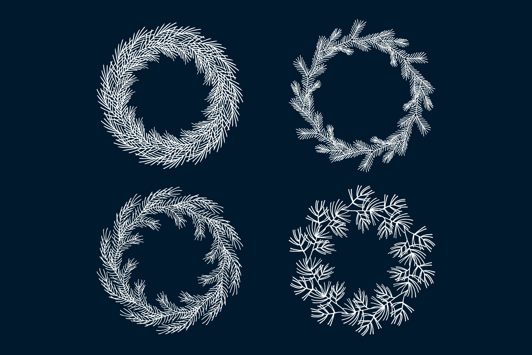 50 Hand Drawn Christmas Branches, Wreaths, Laurels, Dividers example image 5