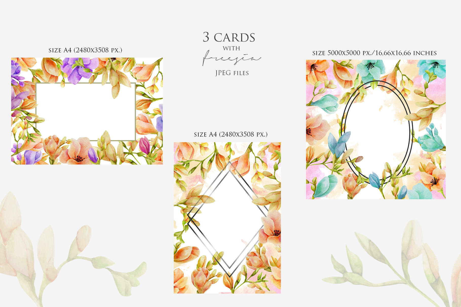 Freesia. Elements & cards example image 3