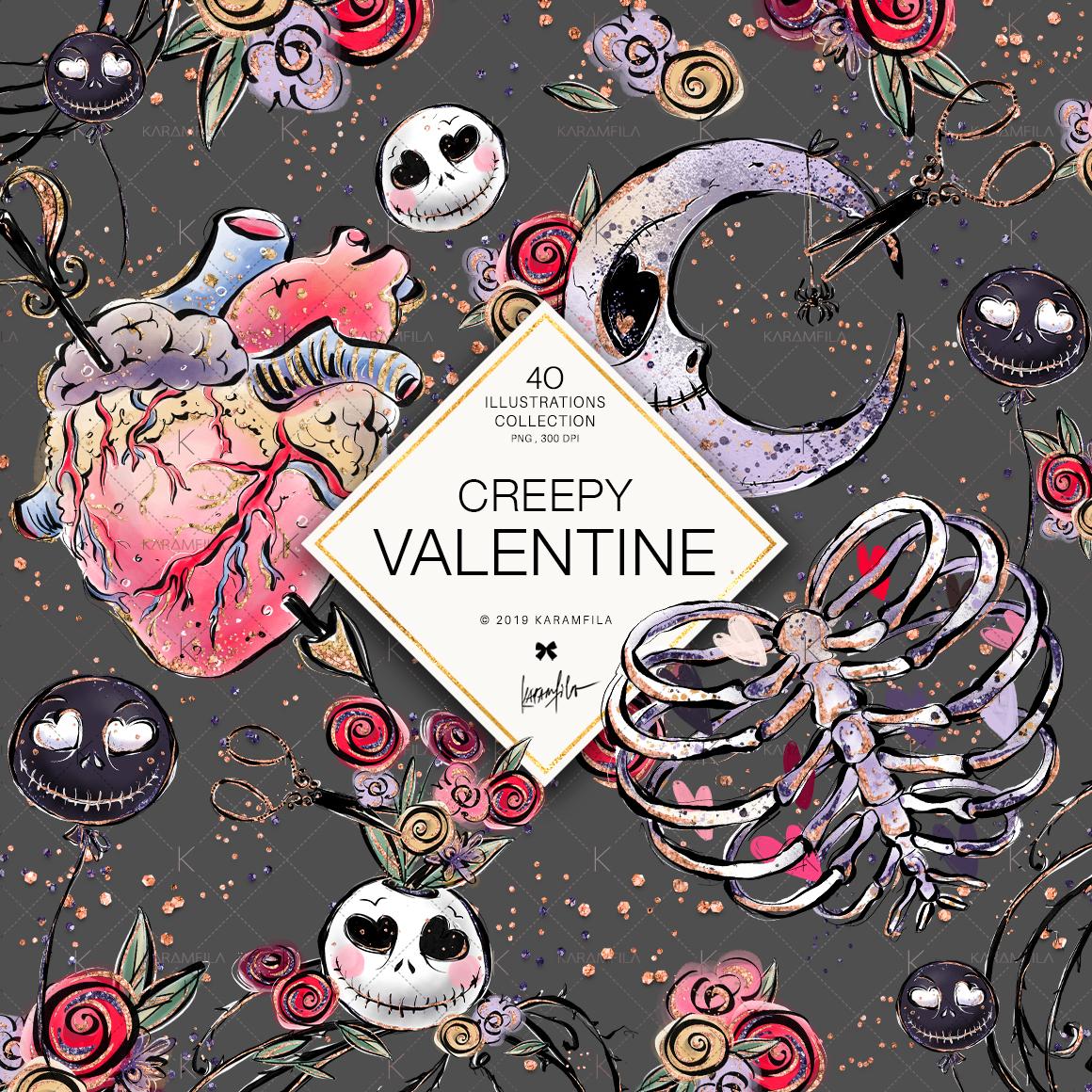 Creepy Valentine's Day Clipart example image 2