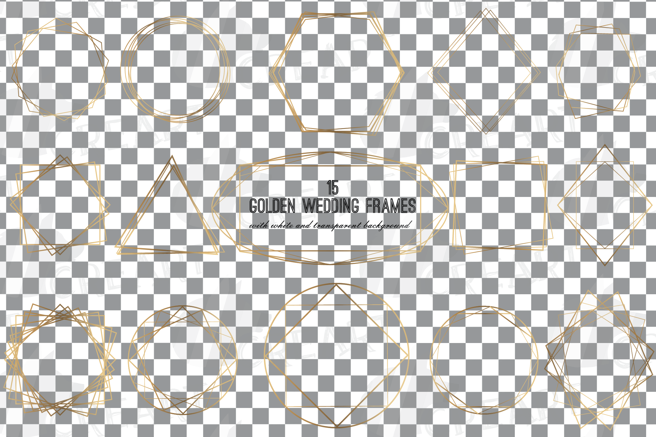 Elegant wedding geometric golden frames, lineal frames svg example image 3