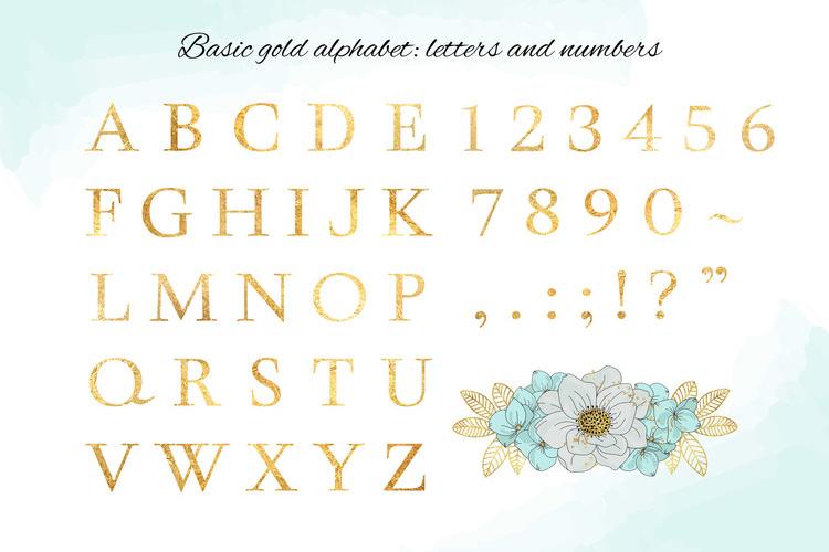 BLOOM Gold Floral Decorative Alphabet Number Set example image 8