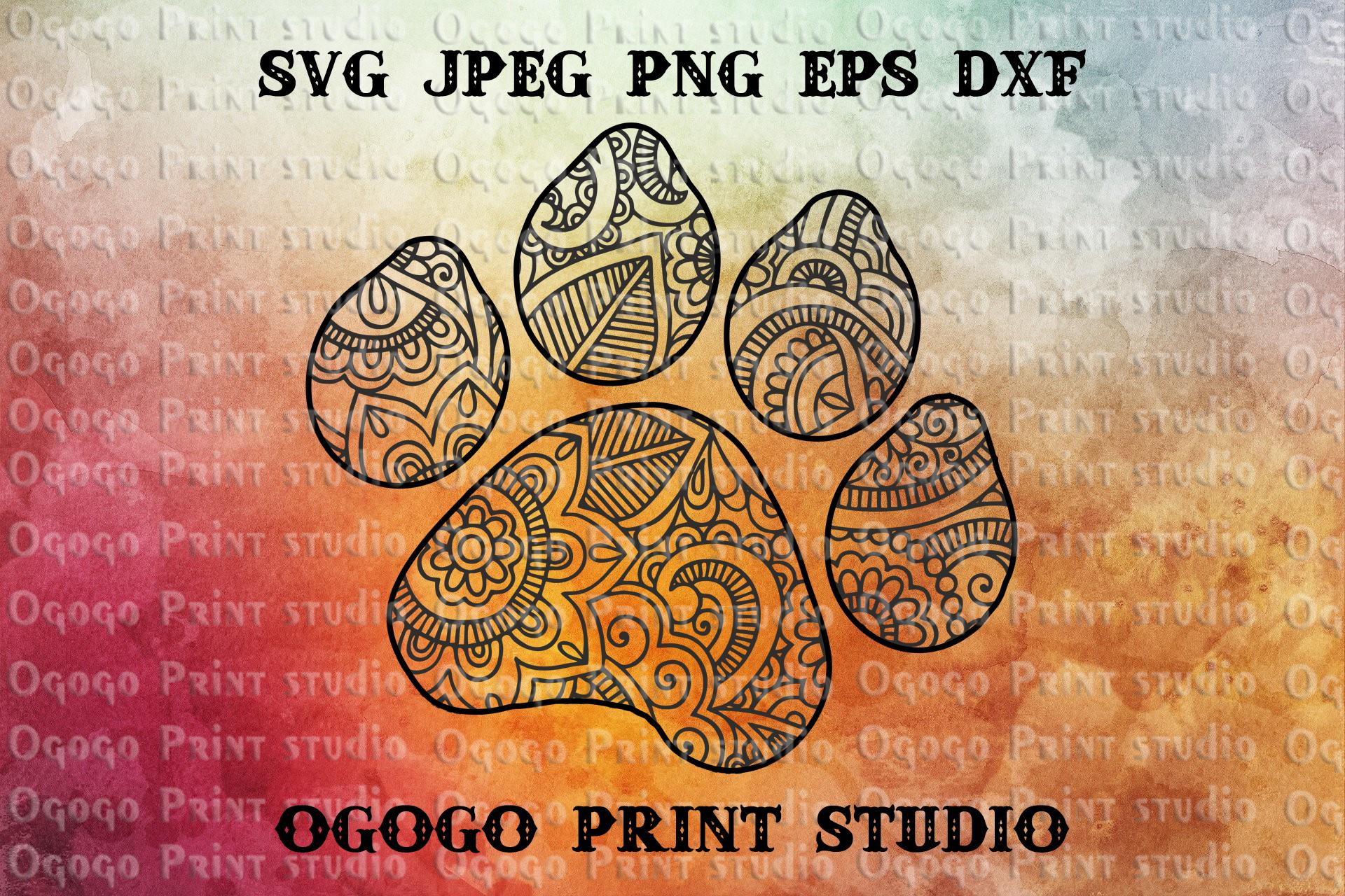 Mandala svg, Dog paw svg, Zentangle SVG, Paw svg,PAW Patrol example image 1