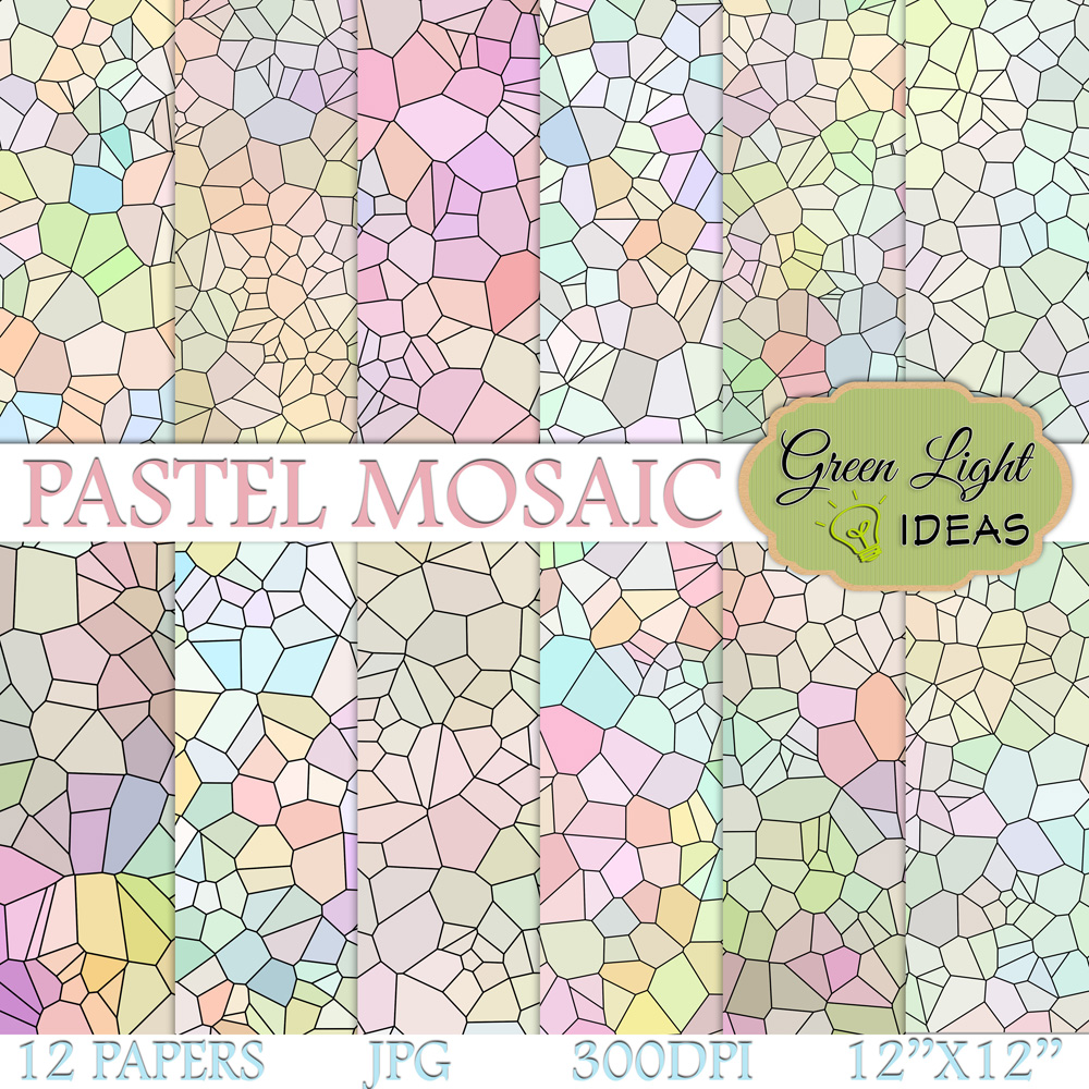 Pastel Mosaic Digital Papers example image 1