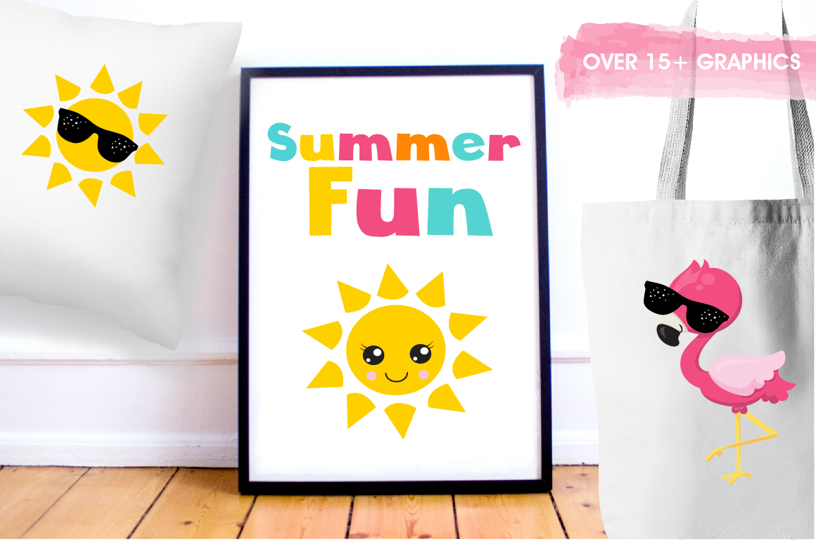 Summer Flamingos graphics and illustrations example image 5