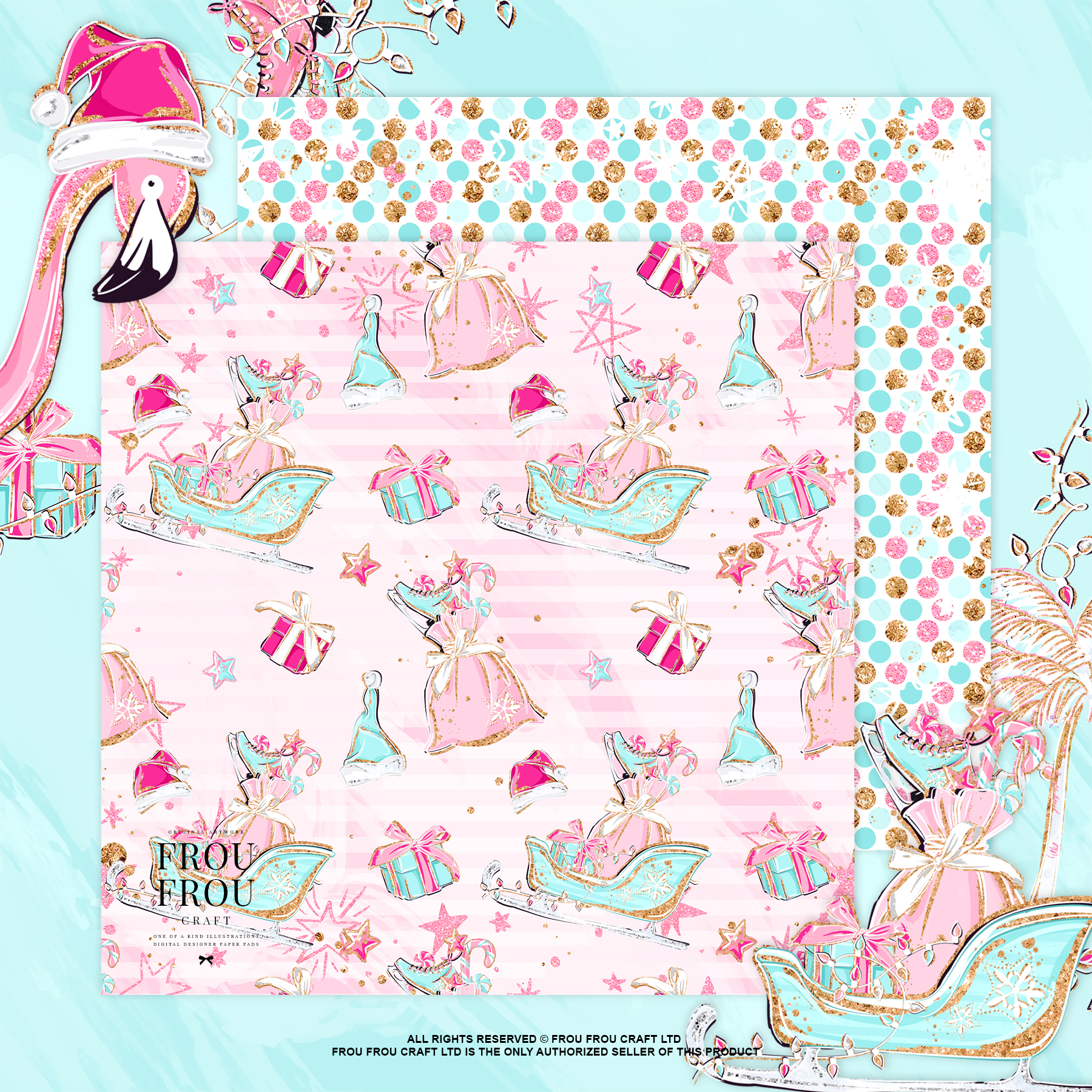 Pink Flamingo Christmas Presents Glitter Paper Pack example image 3