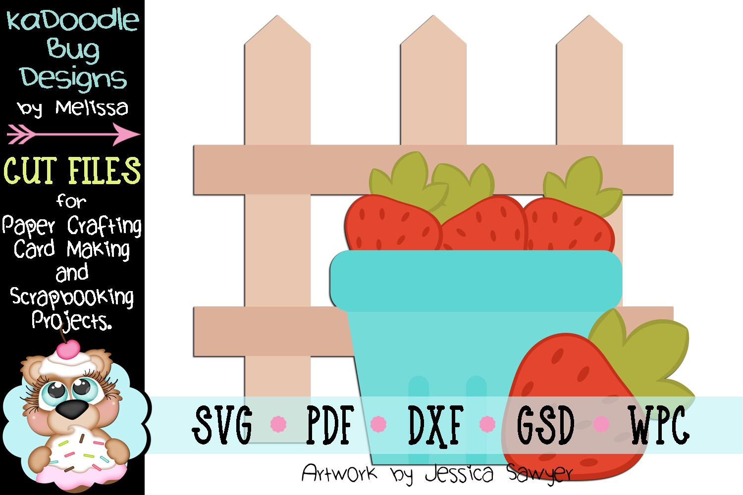 Strawberry Farm Fence Cut File - SVG PDF DXF GSD WPC example image 1
