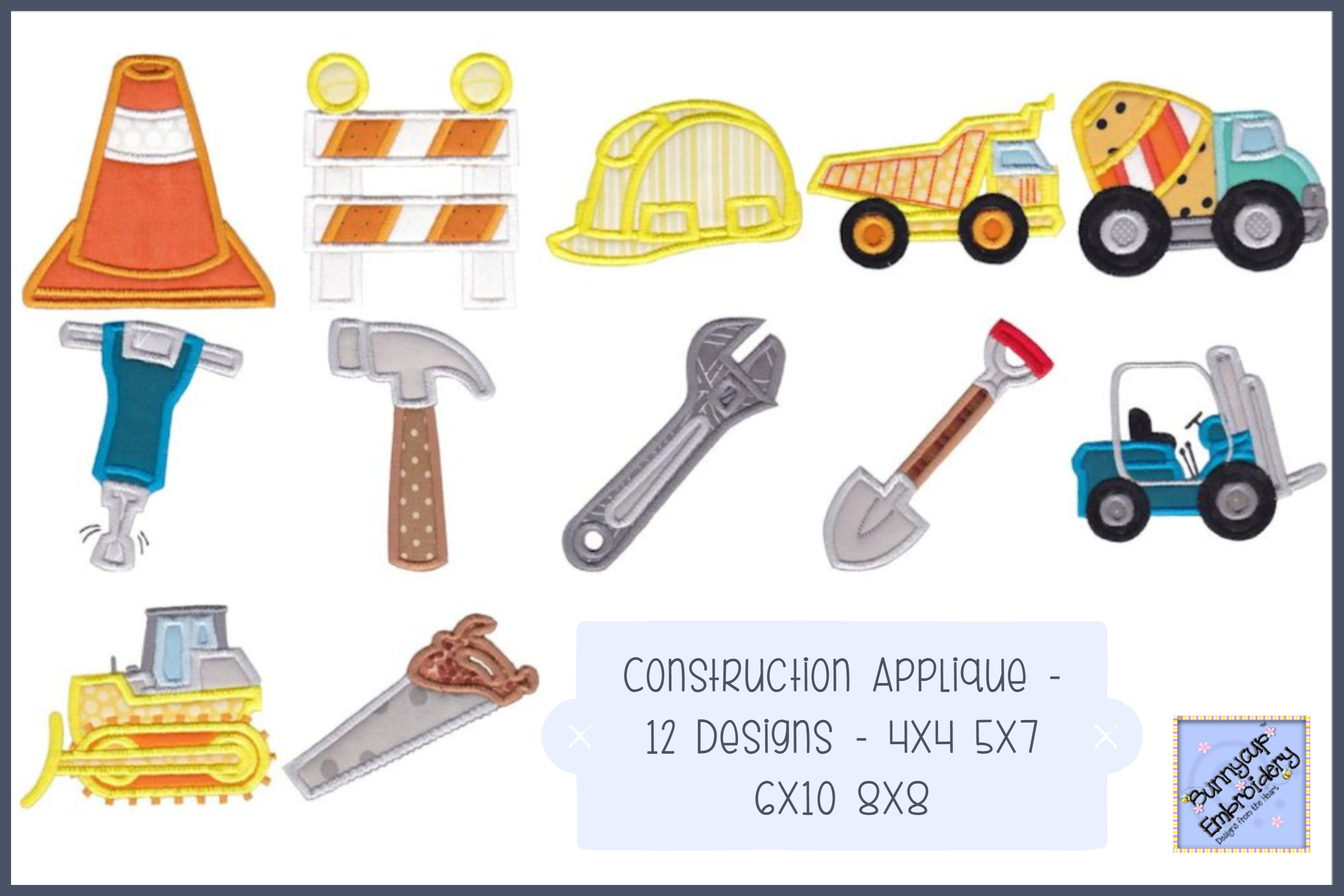 Construction Applique 12 Machine Embroidery Designs example image 1
