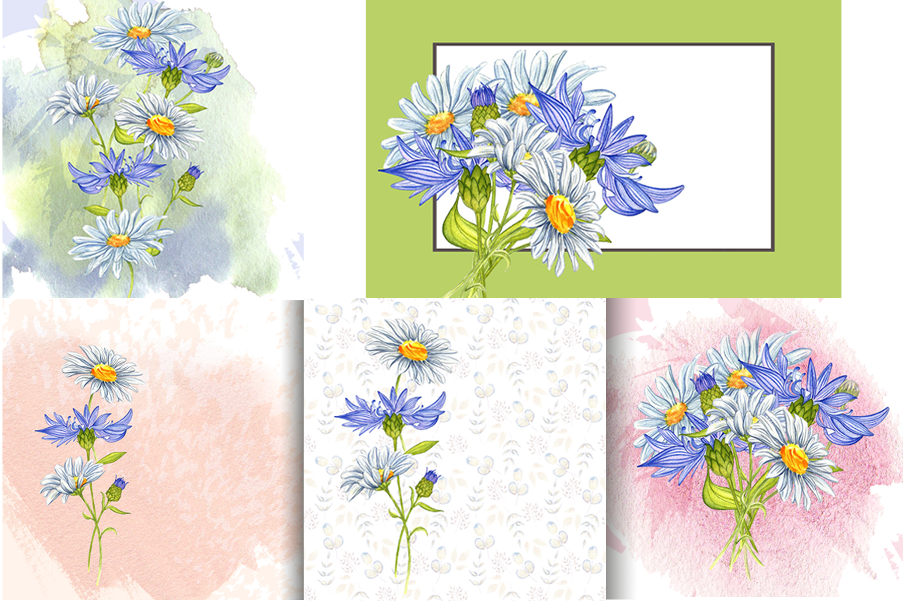 Wildflowers and herbs gentle watercolor collection example image 6