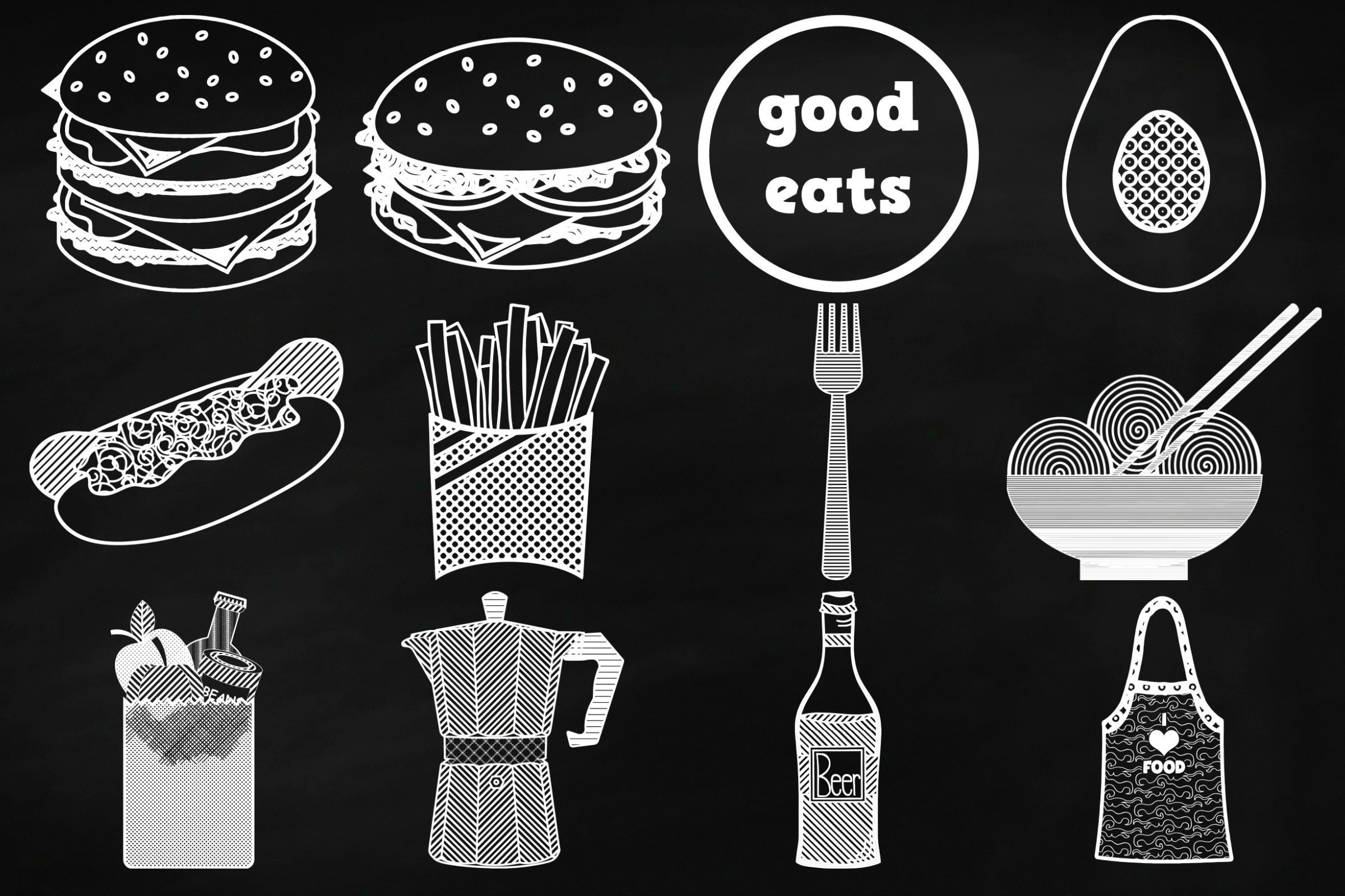 Chalk Savory Food Doodles Clip Art example image 4