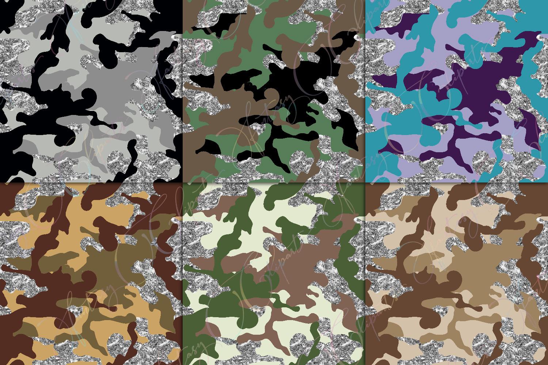 Camo & Silver Glitter Digital Paper example image 2