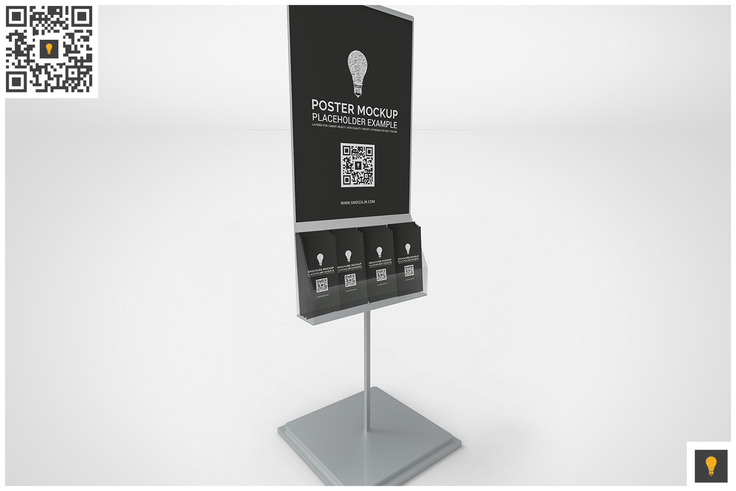 Poster Stand with Brochure Rack Mockup example image 4