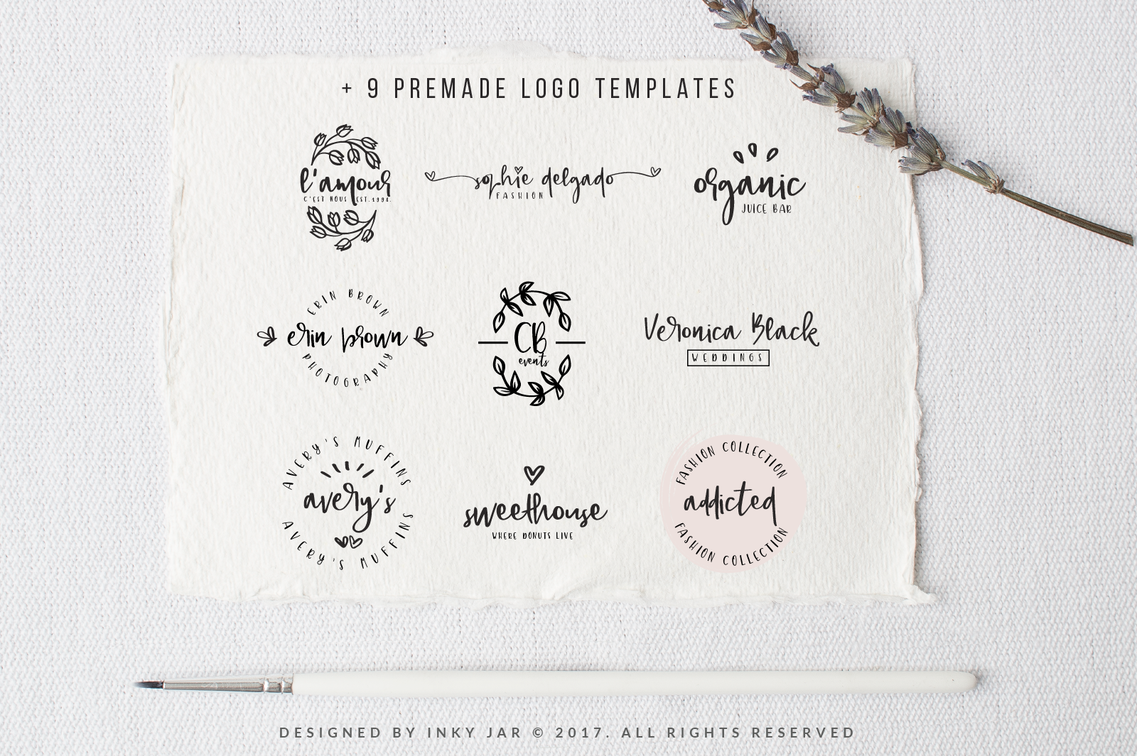 Gingerbread Font Duo 9 Premade Logo templates example image 4