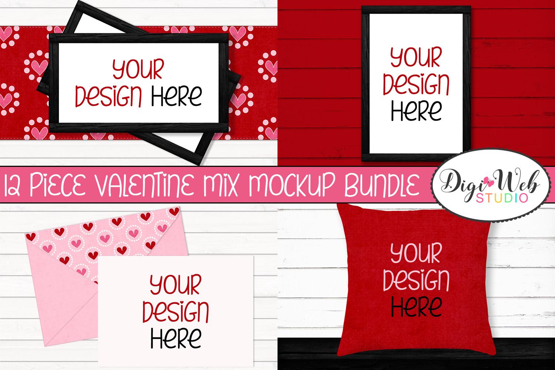 12 Valentine Mockups Bundle -Wood Signs, Pillows, Cards, Mug example image 1