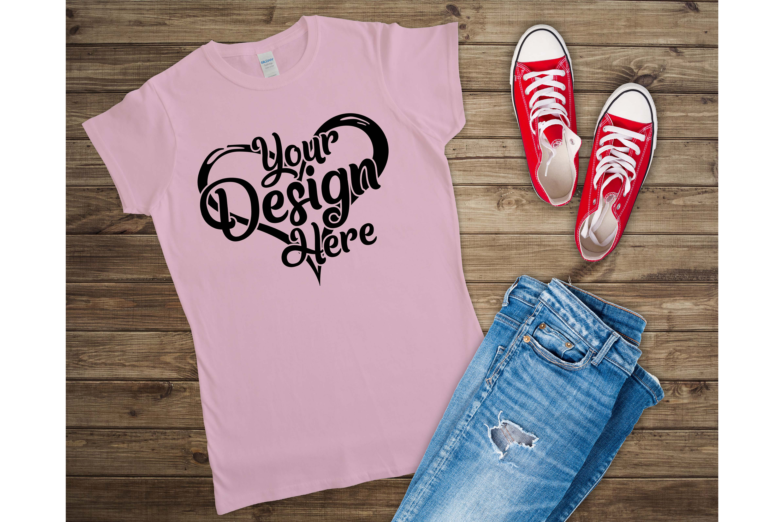 Gildan Ladies T-Shirt Mockup Mega Bundle Flat Lay 64000L example image 22