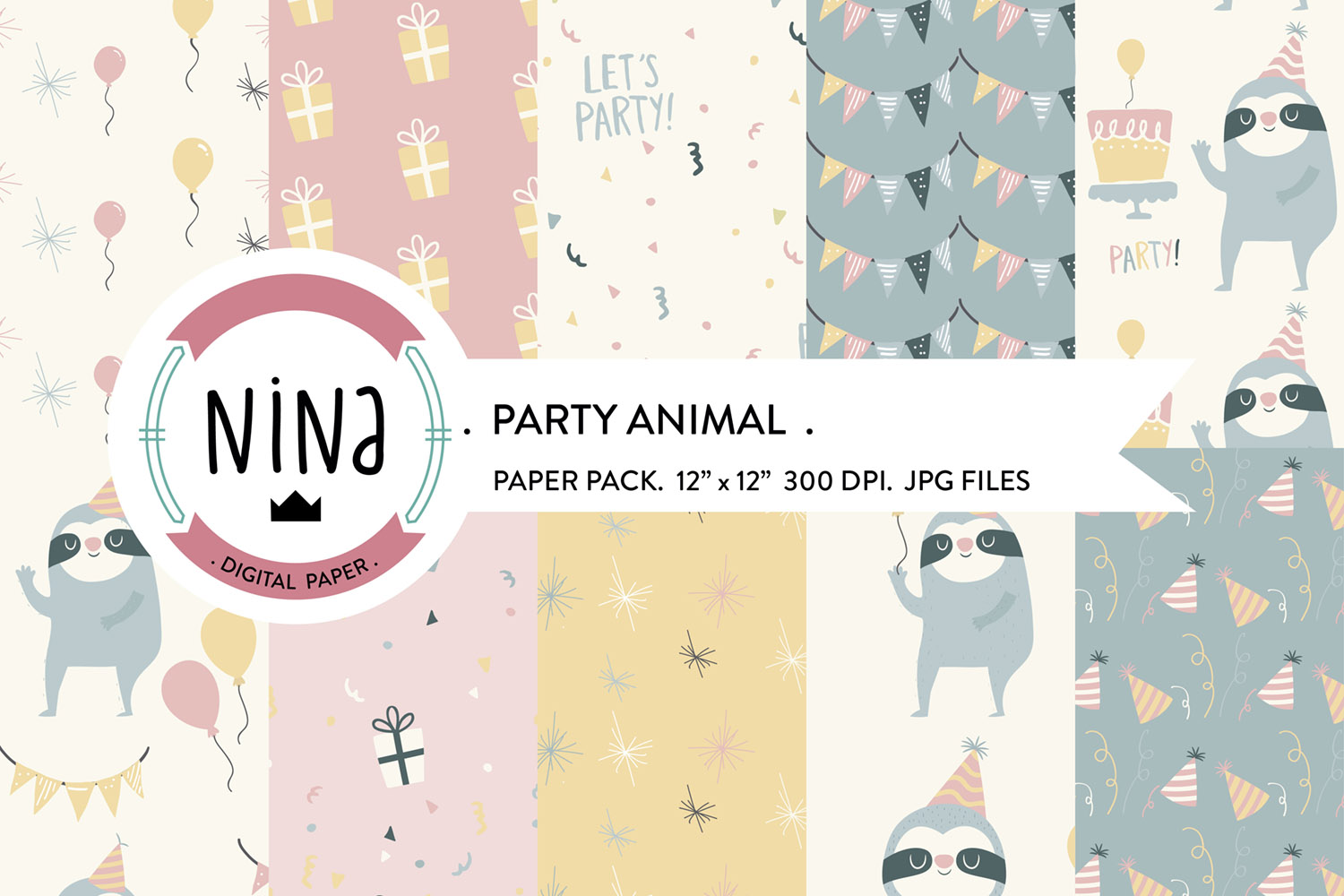 Party animal digital paper, confetti pattern, baloon pattern example image 1