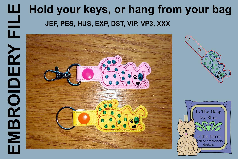 ITH Funky Dog Vinyl Key Fob or Bag Tag - Snap example image 1