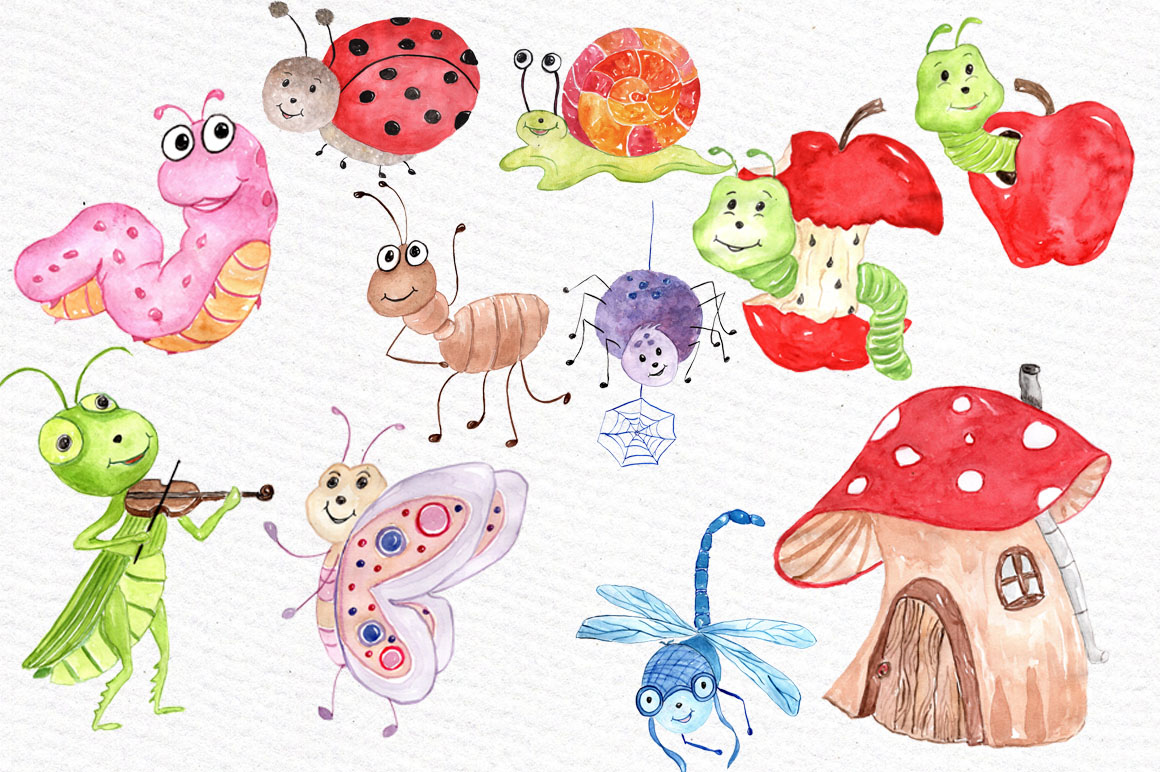Watercolor bugs clipart example image 2