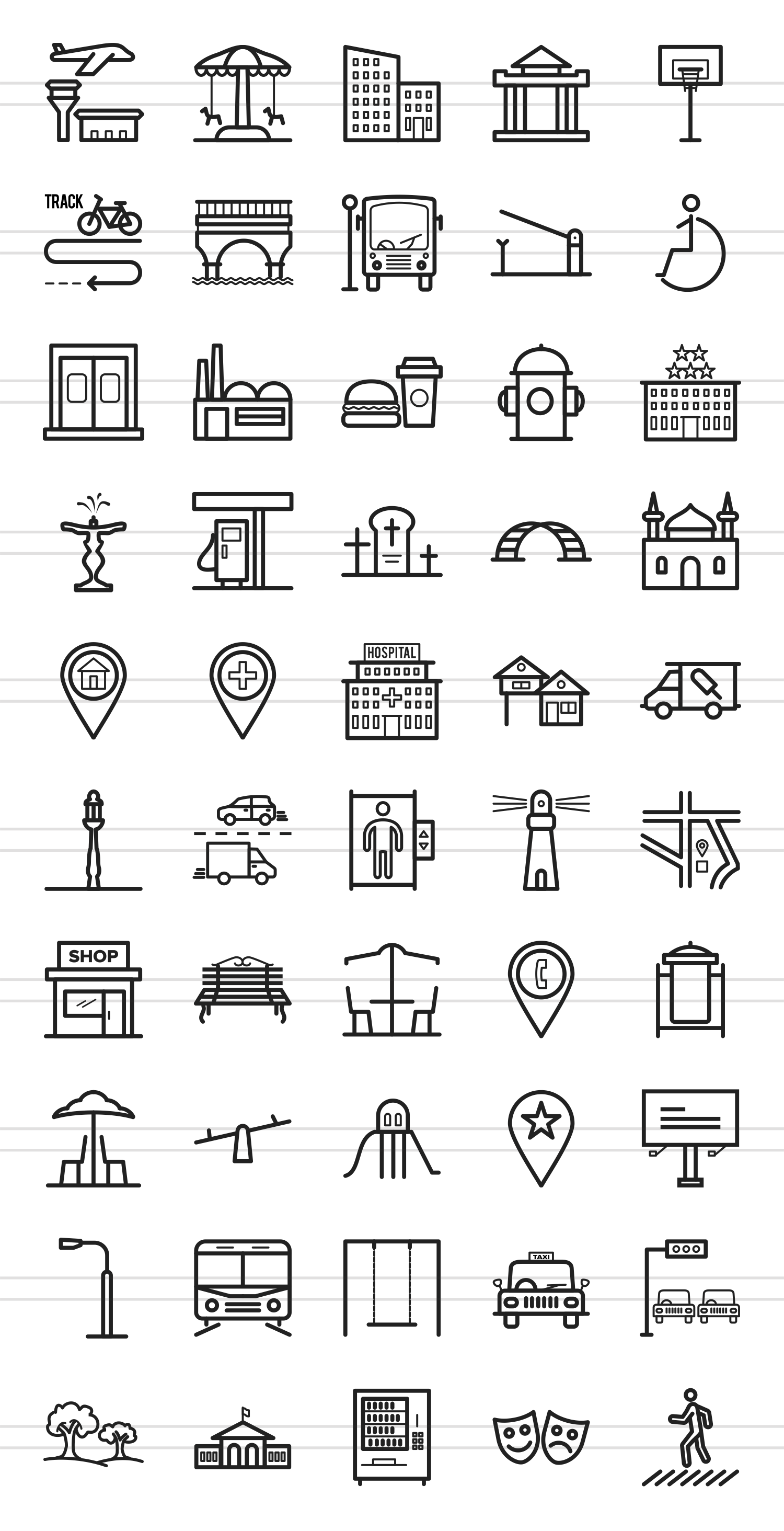50 Town Line Icons example image 2