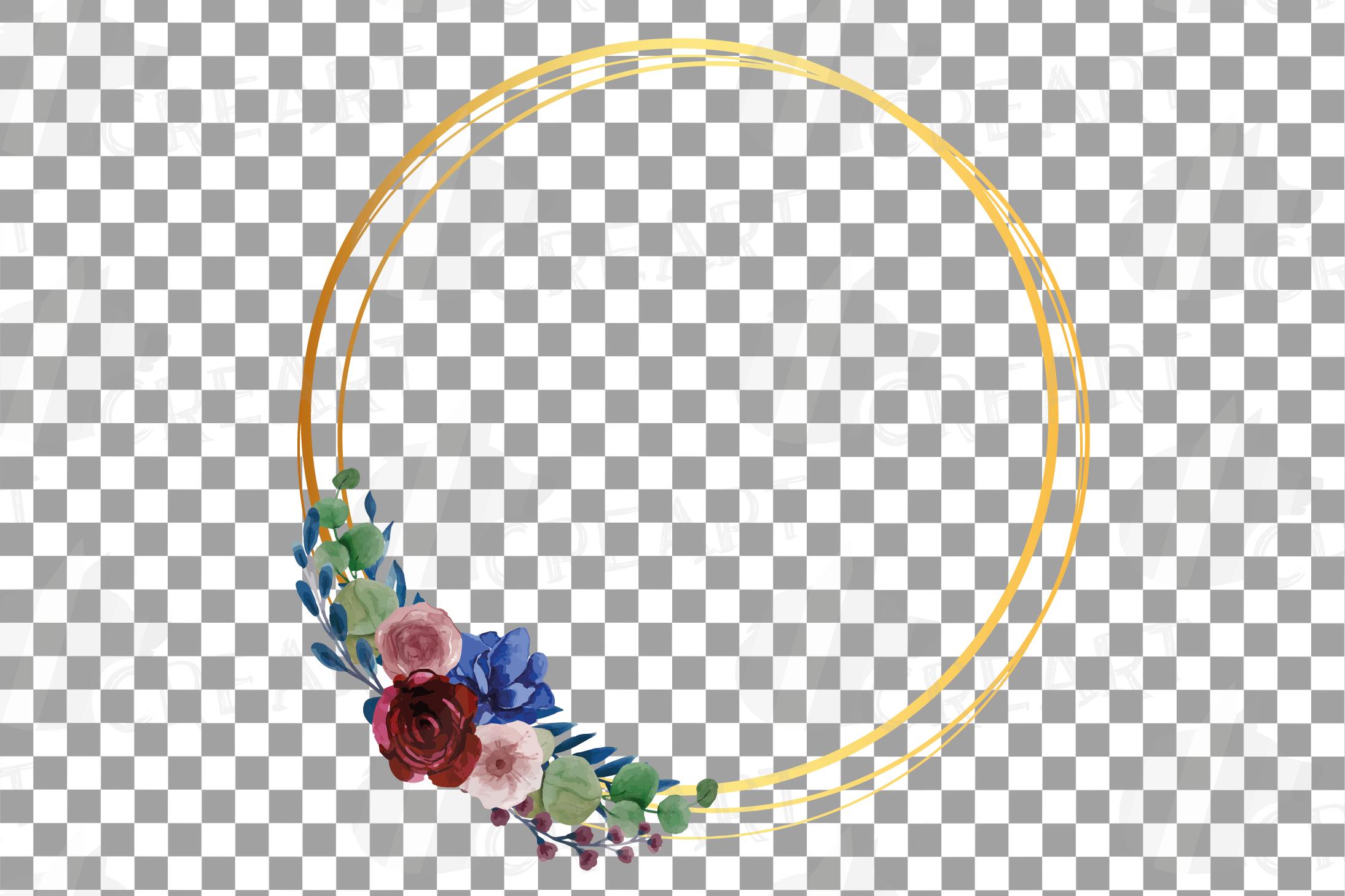 Watercolor elegant floral borders clip art. Wedding frames example image 21