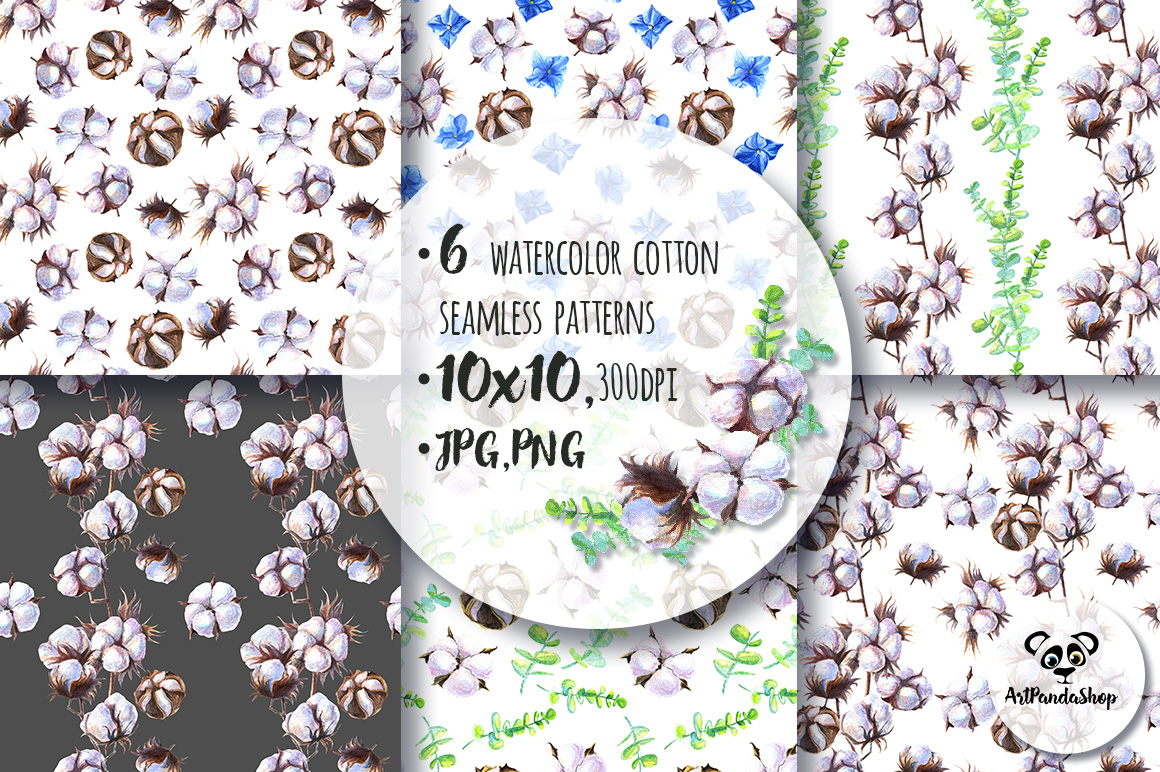Cottons Watercolor Seamless patterns example image 2