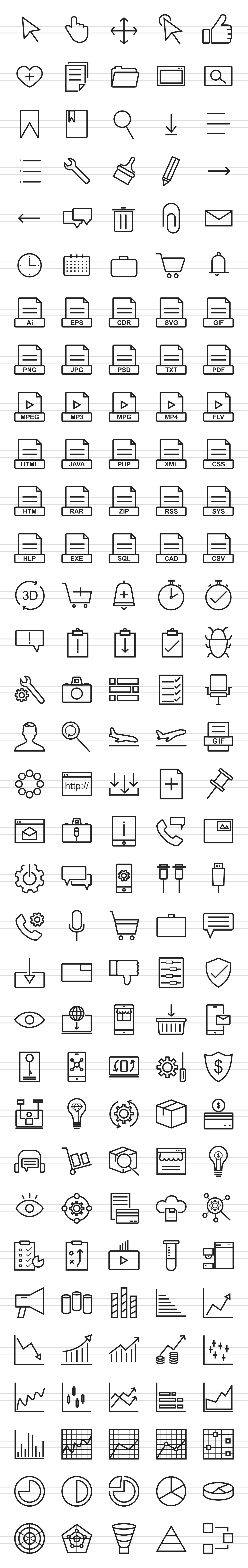 166 Interface Line Icons example image 2