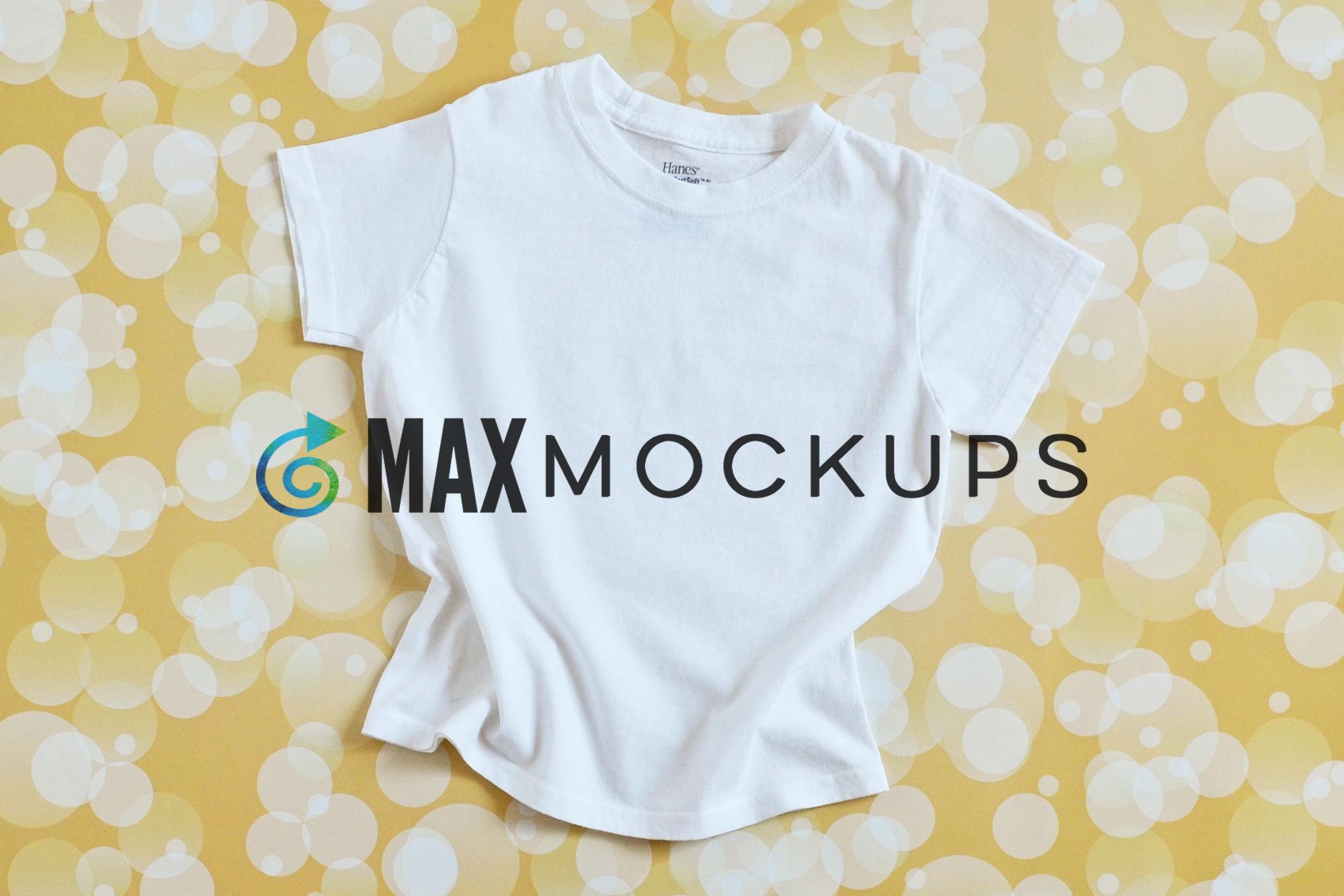 Kids White T Shirt Mockup Flatlay Styled Photography