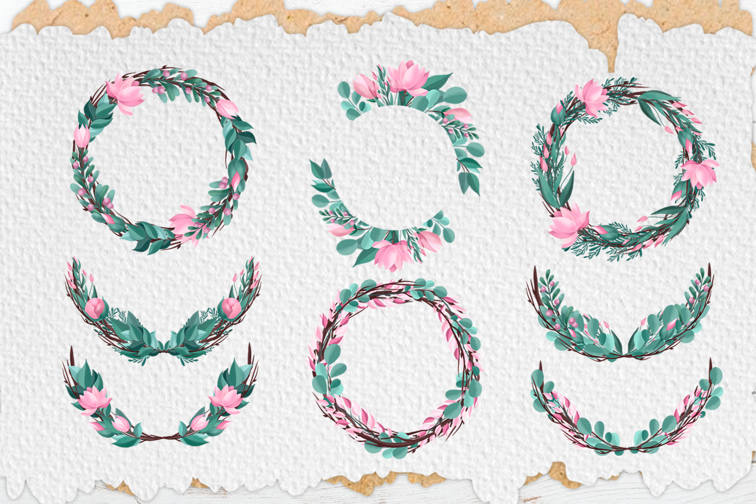 Pink Flowers. Clip art set example image 3