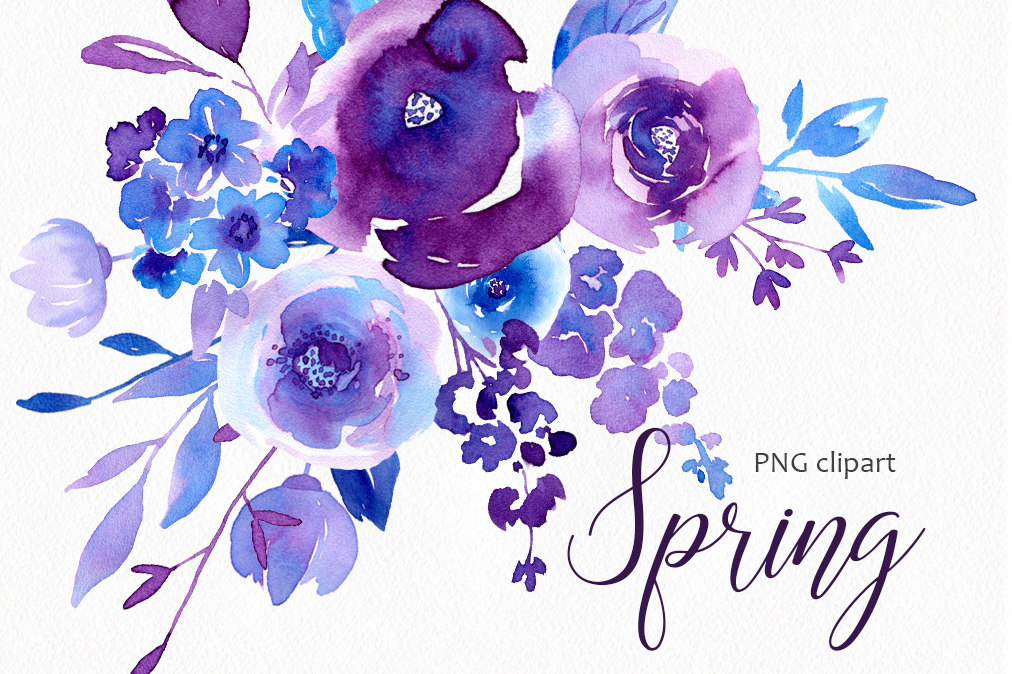 Spring Ultraviolet & Blue Flowers Collection example image 1
