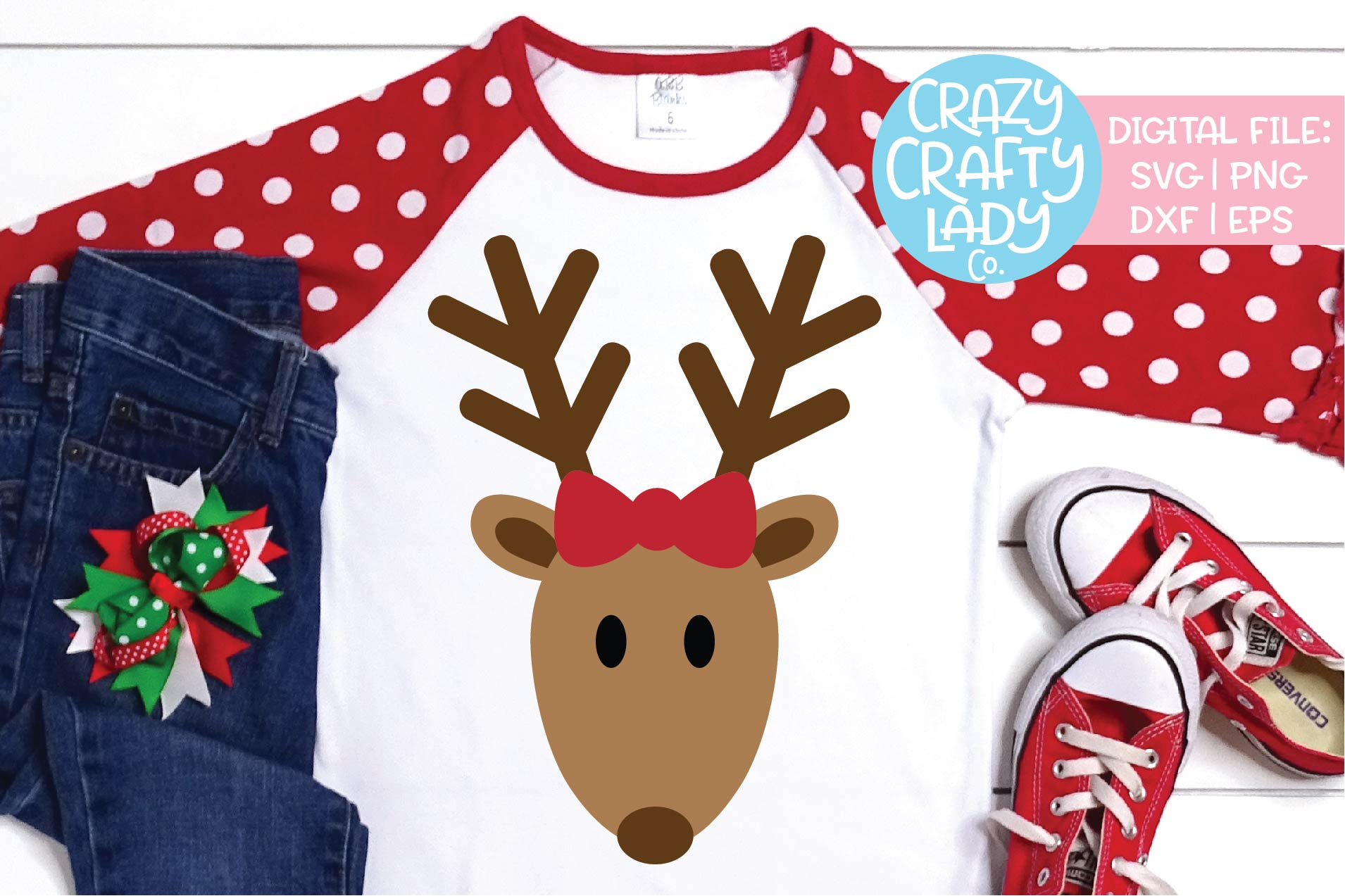 Girl Reindeer Christmas SVG DXF EPS PNG Cut File example image 1