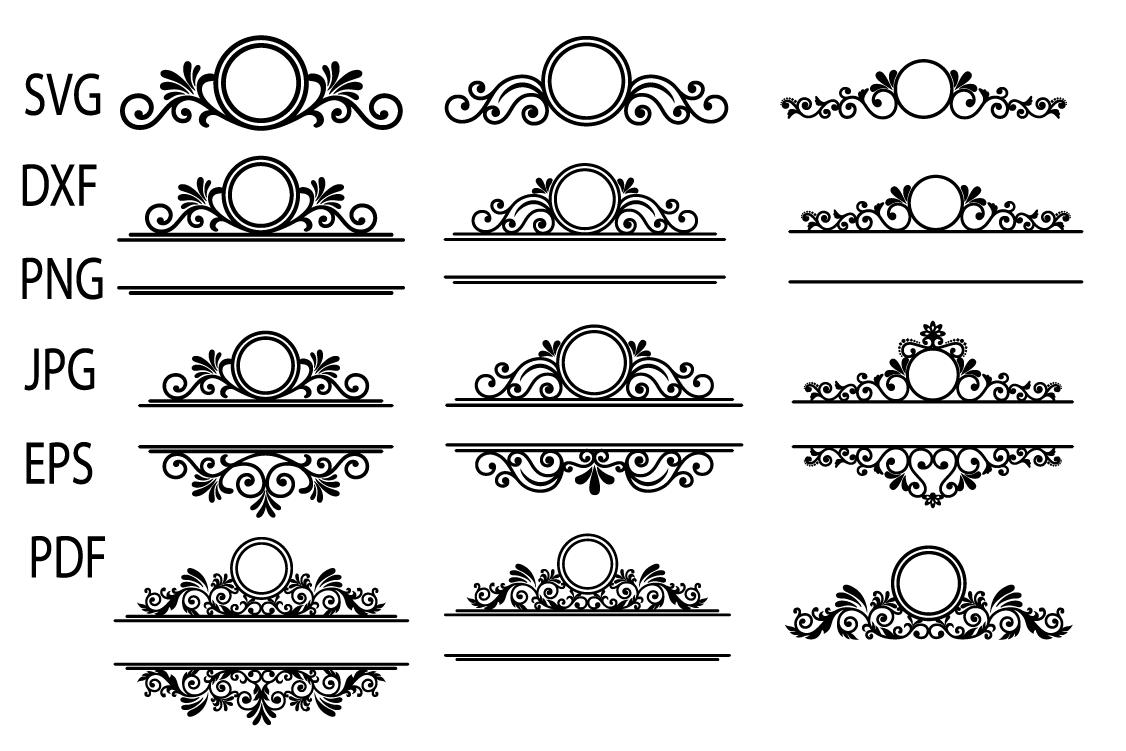 Mailbox Frame svg, Ornamental Split Frame SVG, Flourish example image 2