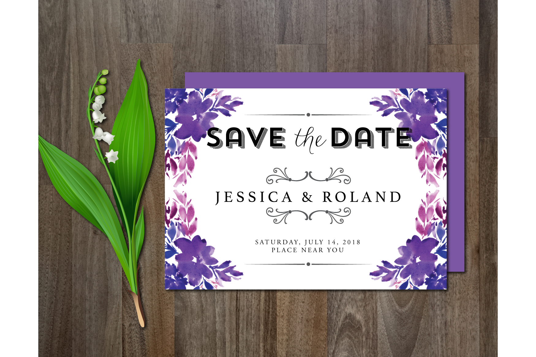 Watercolor Flower Wedding Suite example image 3