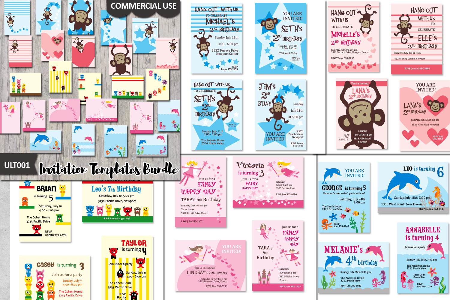 Templates Bundle Kids Birthday Party Invites Cards