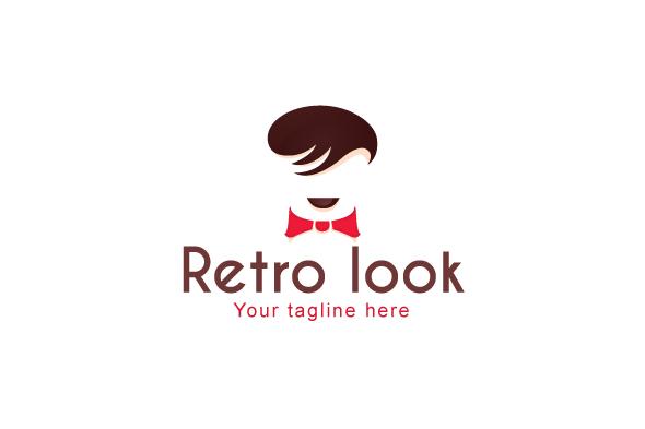 Retro Look - Mens Saloon Stock Logo Template example image 1
