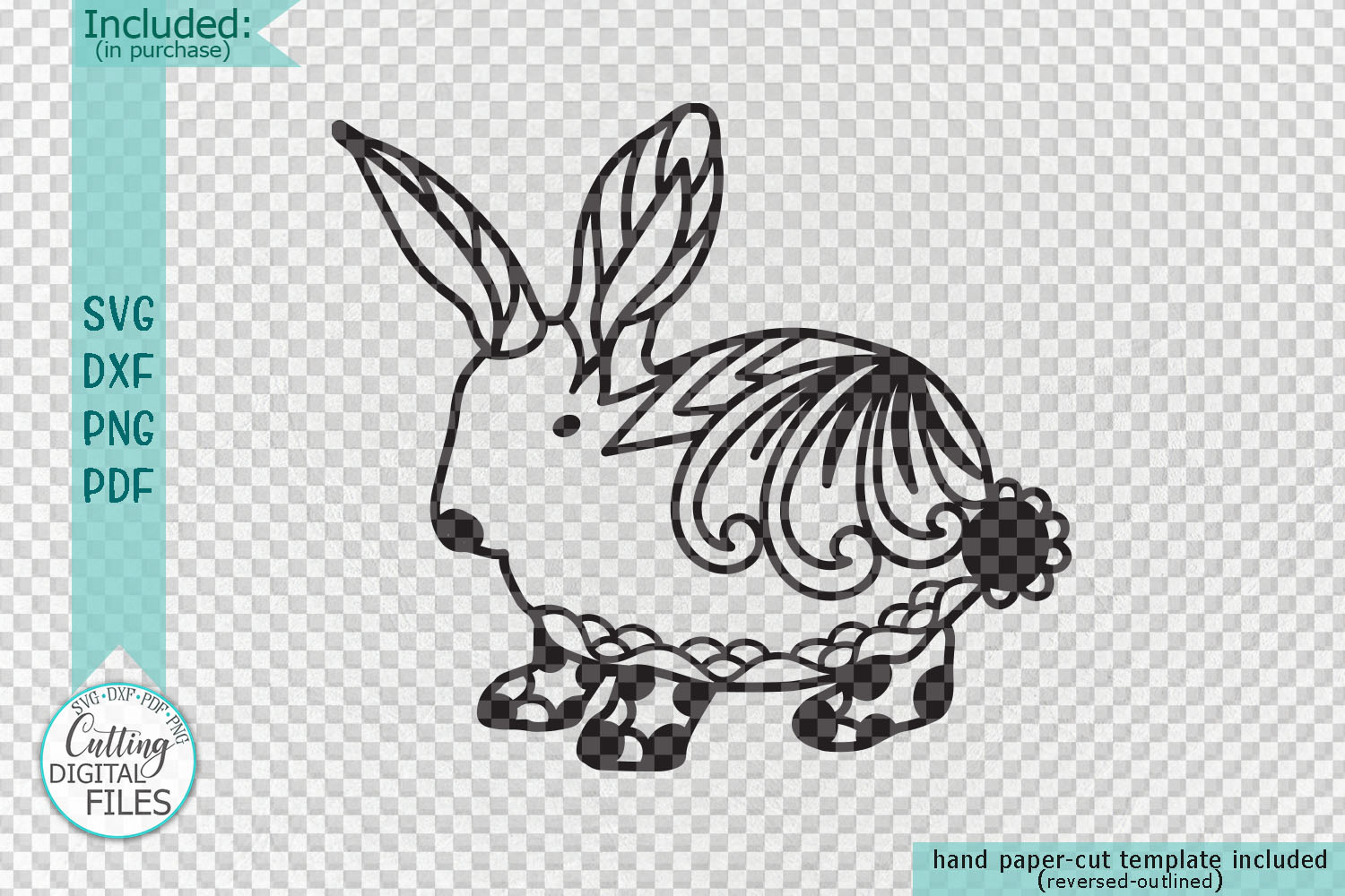 Floral Cute Easter bunny rabbit svg dxf file for machine cut example image 2