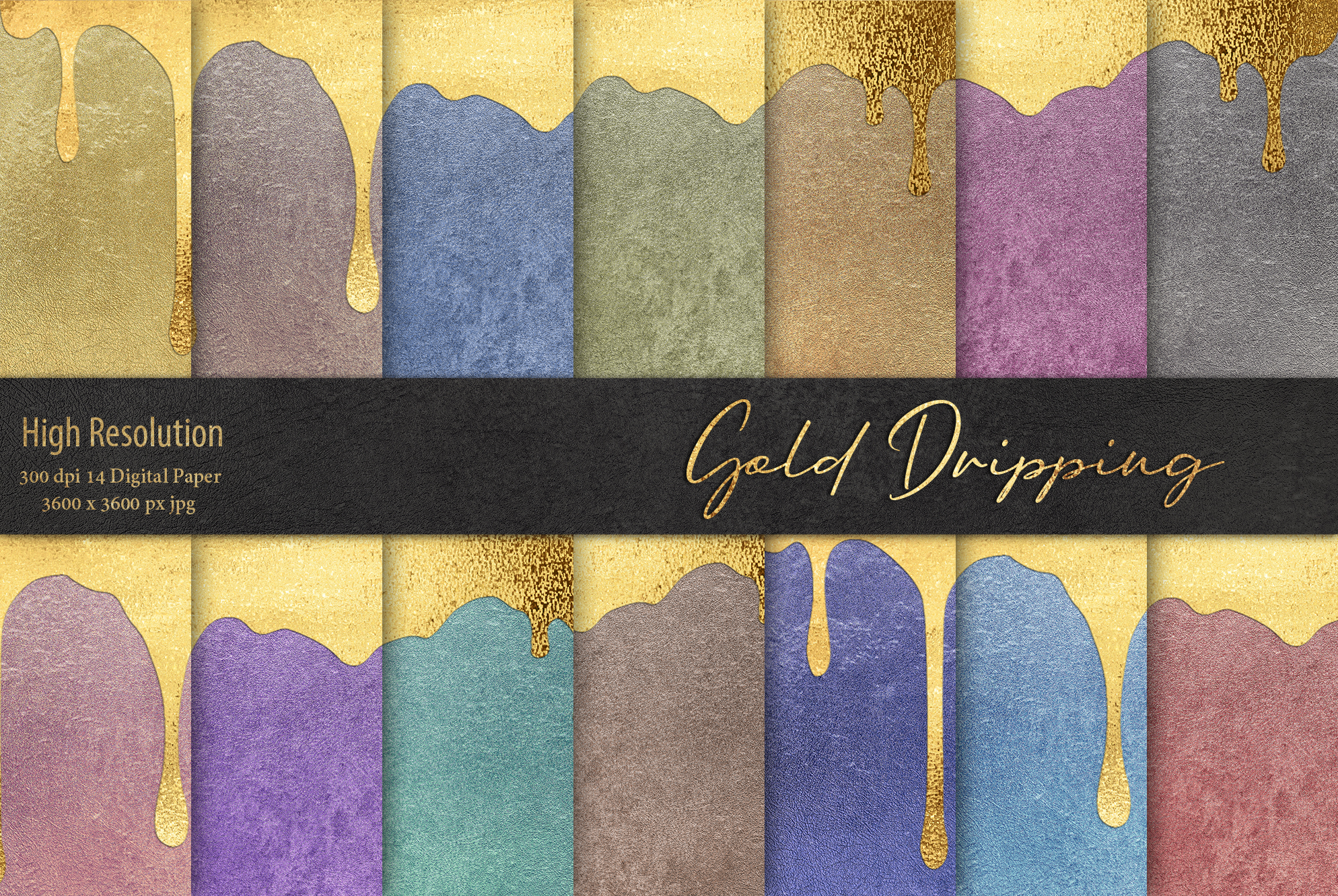 Gold Dripping Digital Paper example image 1