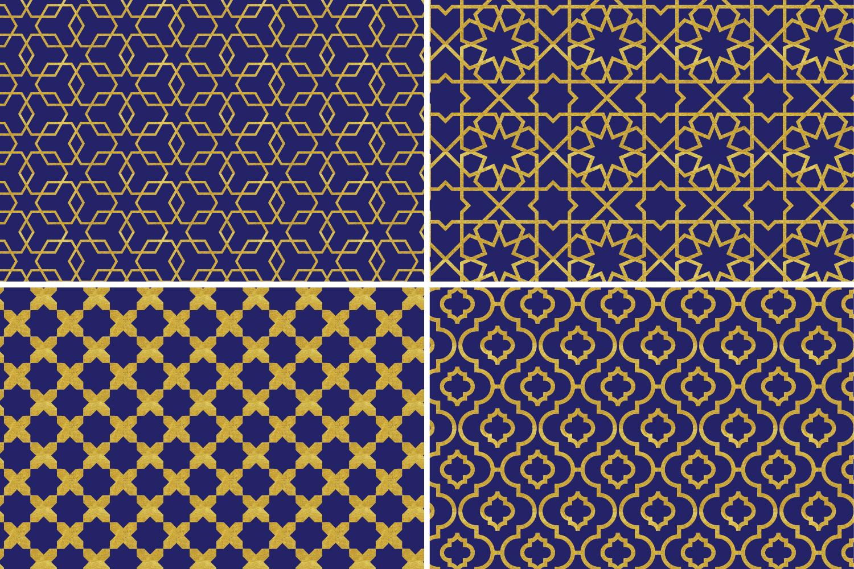 8 Seamless Moroccan Patterns - Gold & Cobalt Blue Set 1 example image 7