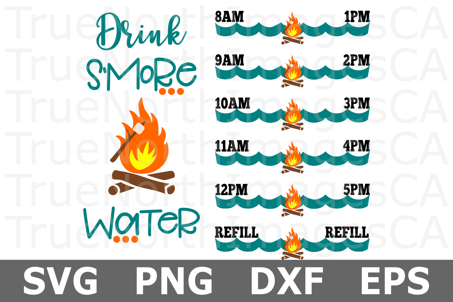 Drink S'more Water - A Camping Water Tracker SVG File example image 1