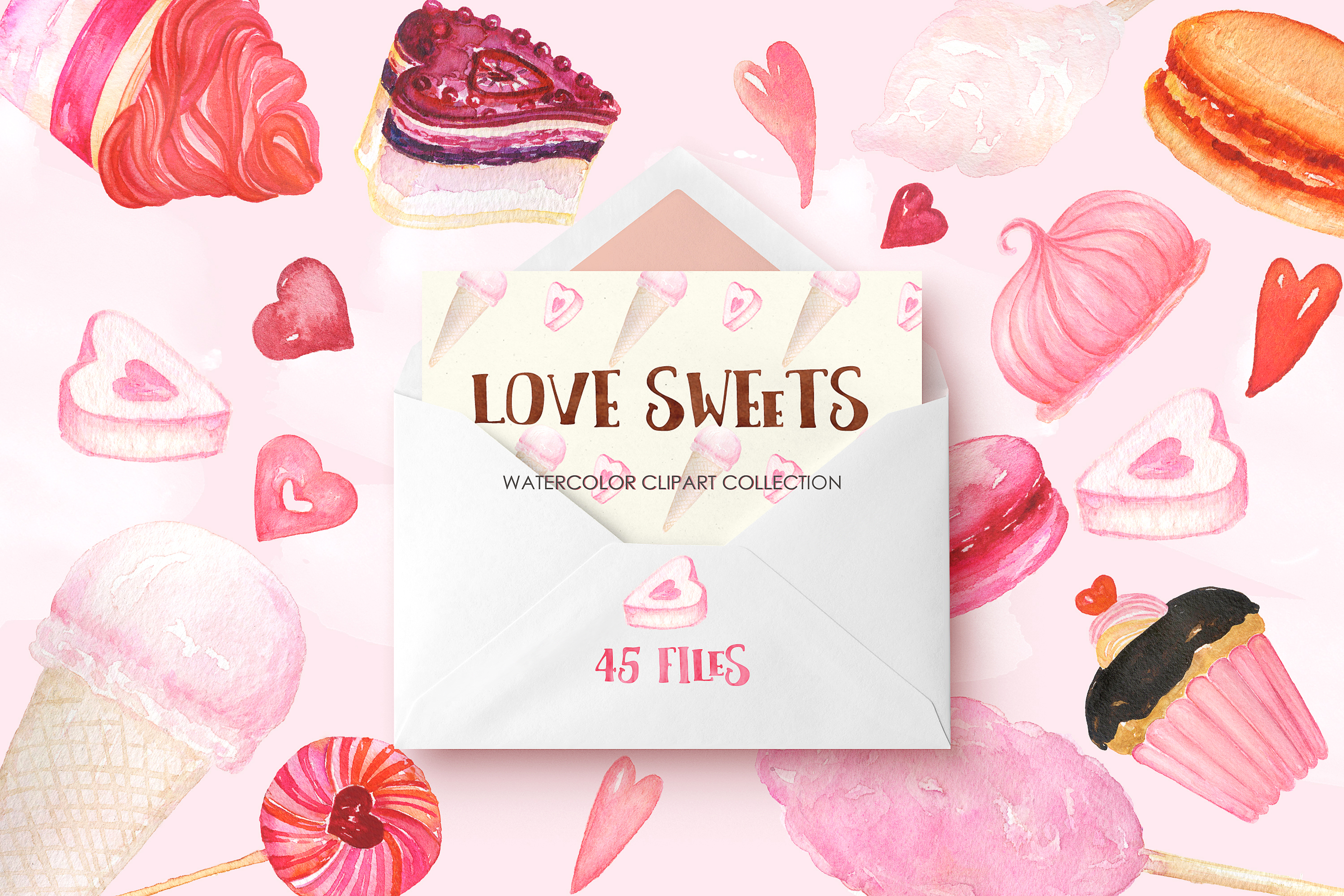 Love sweets. Watercolor clipart example image 3