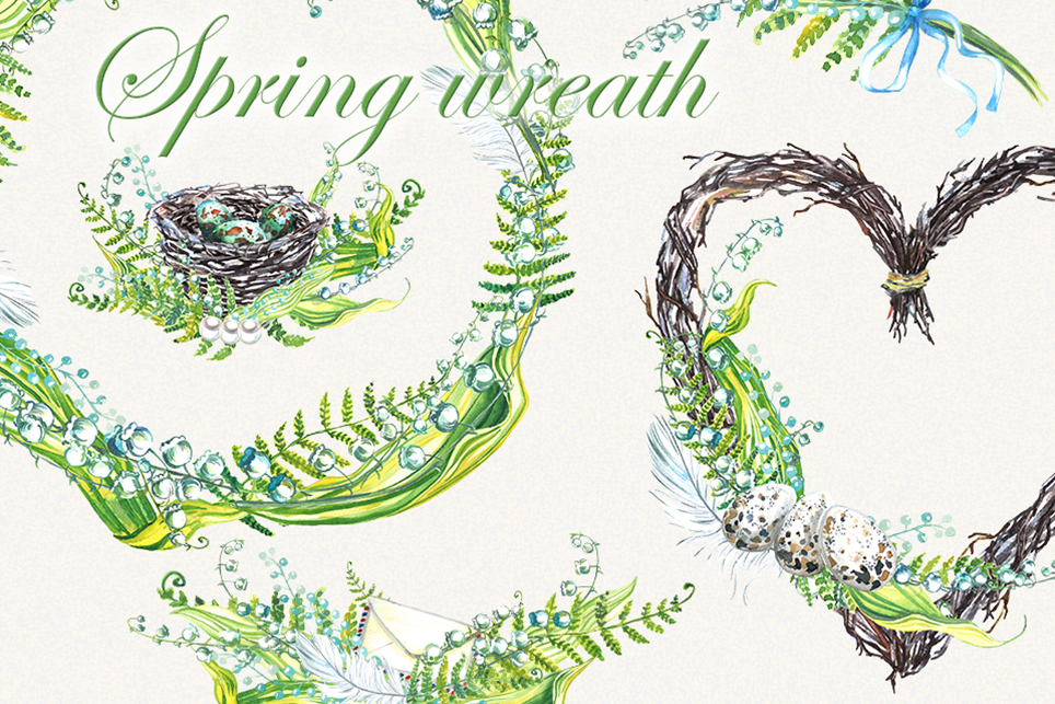 Easter clipart, Flower wreath clipart, Lilies example image 1