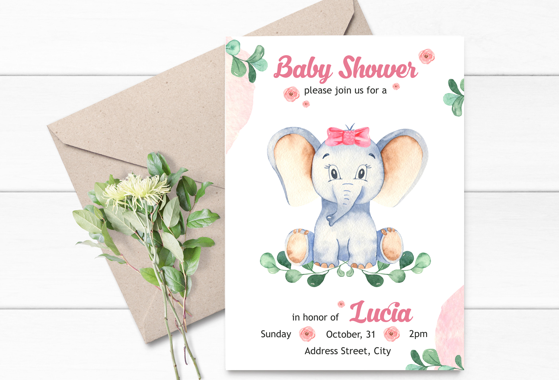 Cute elephants watercolor collection clipart example image 4