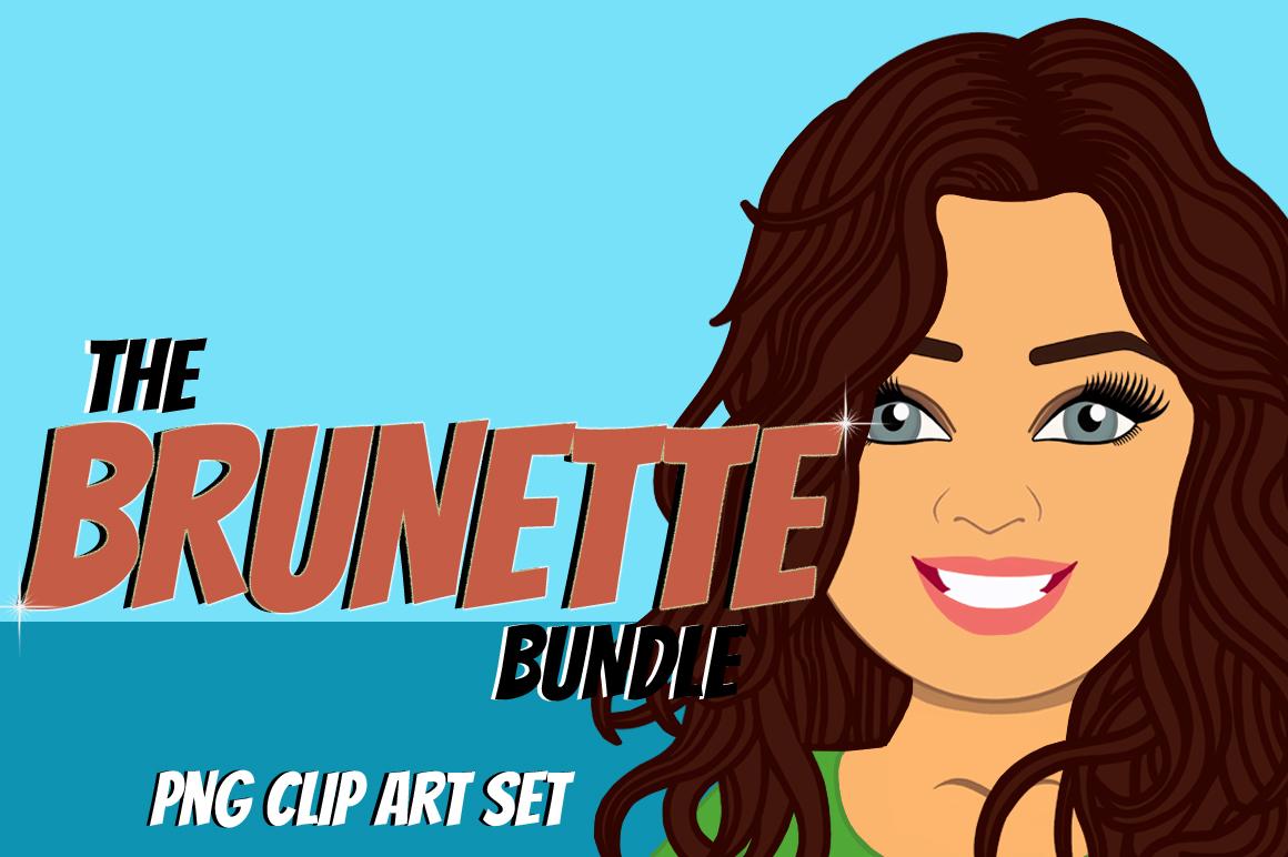 Brunette Woman Clip Art Bundle | Female Avatar | Graphic example image 1